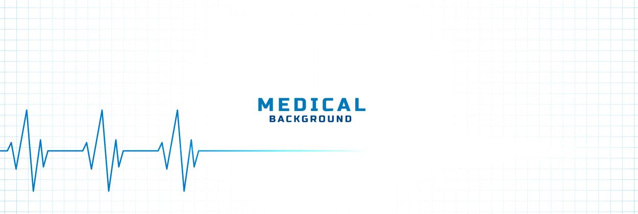 white medical and health care background with cardiogram line